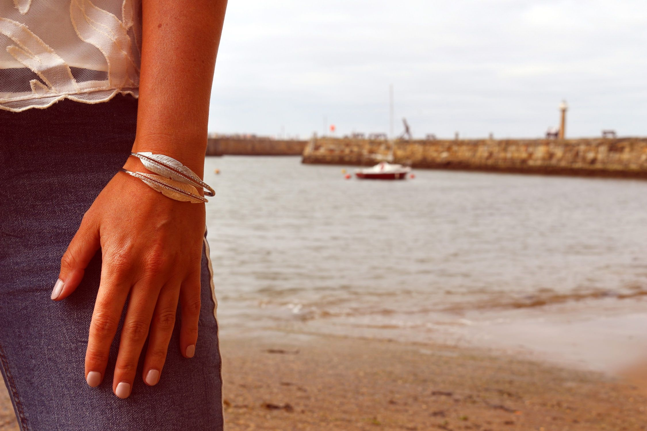 Buckley London Rose Gold Feather Bangles