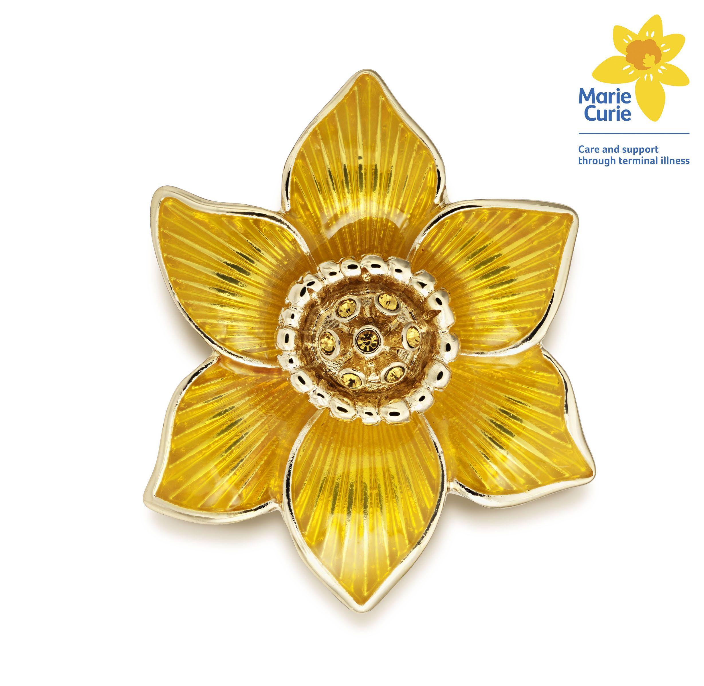 Marie Curie Enamel Daffodil Brooch
