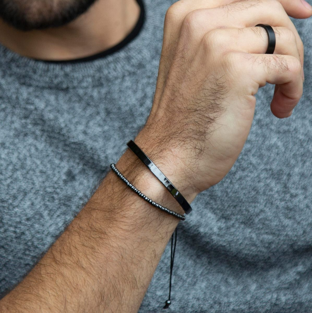 Logan Beaded Bracelet - Hematite