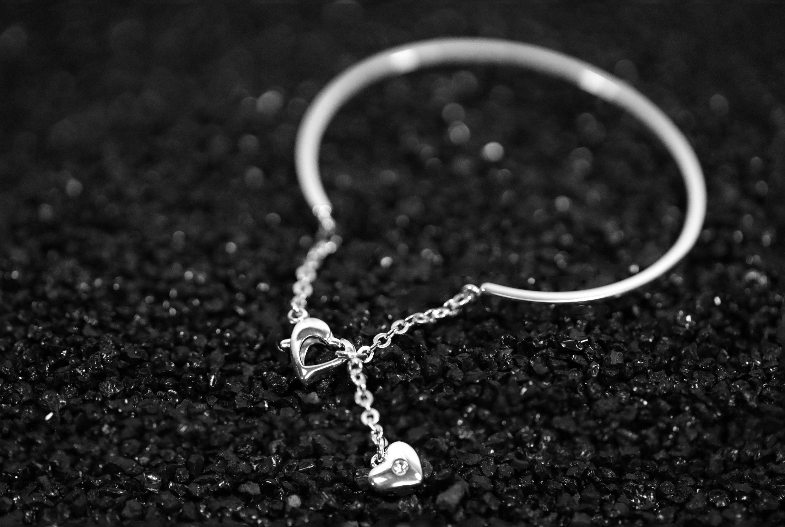 Buckley London Heart Bangle - Silver