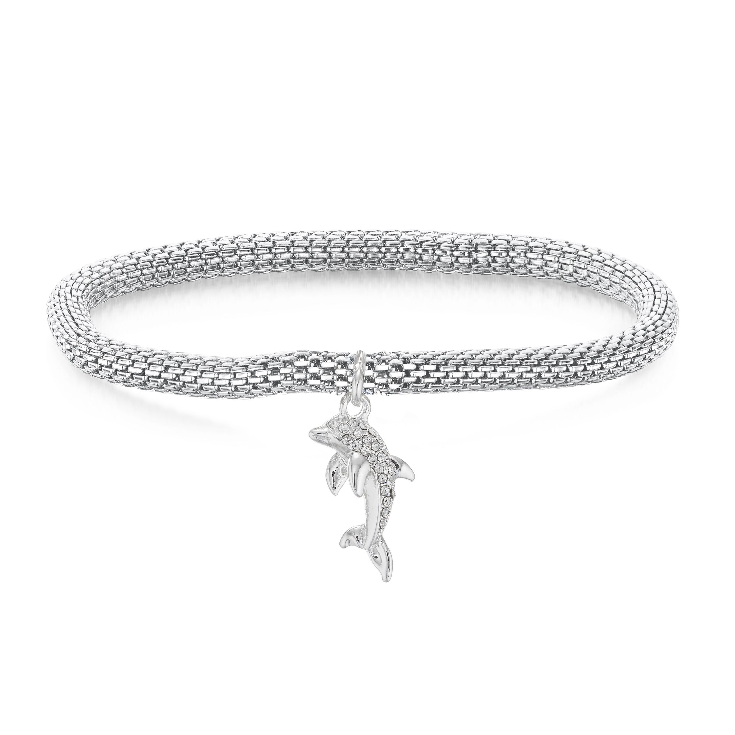 Buckley London Mesh Dolphin Charm Bracelet
