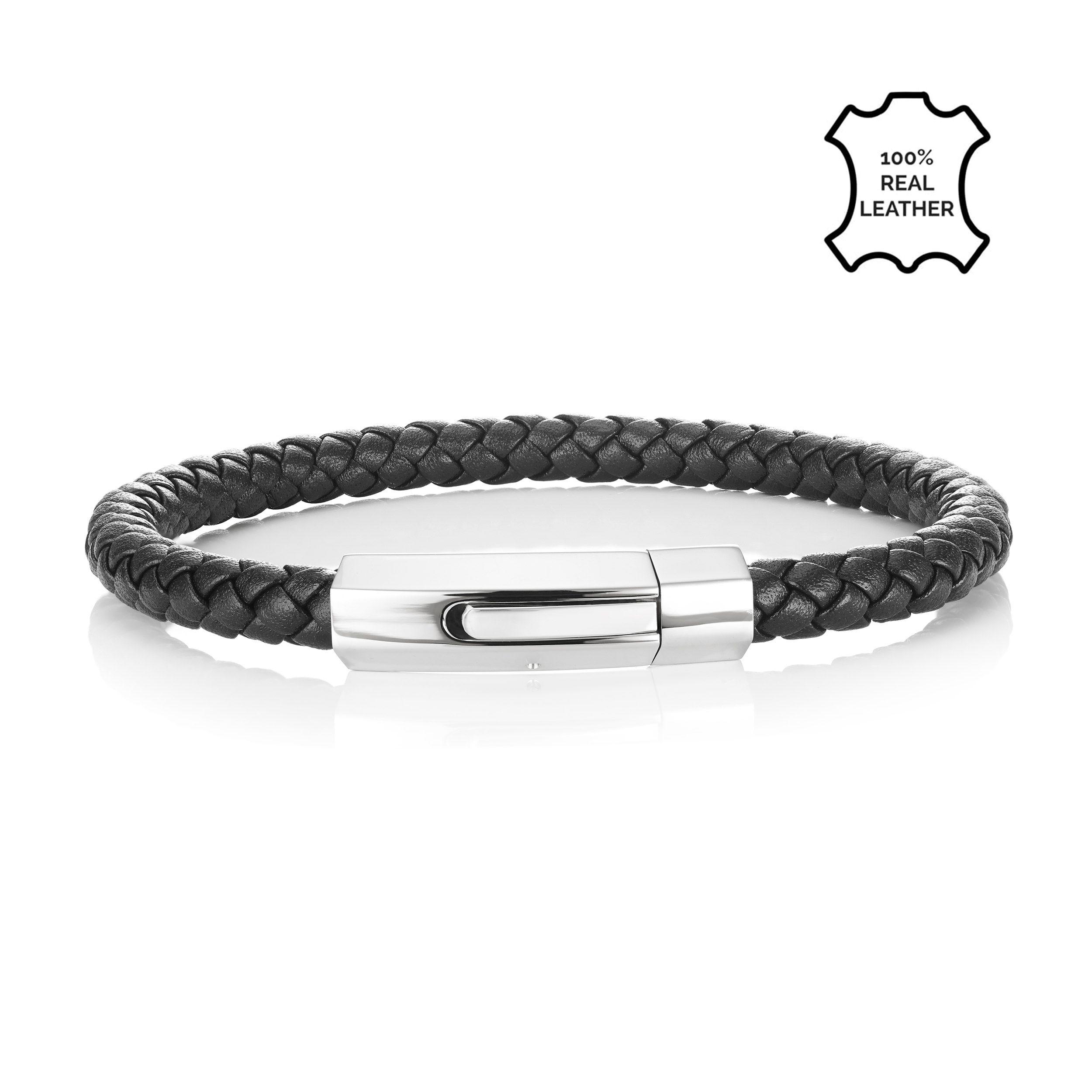 Buckley London Men's Axel Hexagonal Clasp Leather Bracelet
