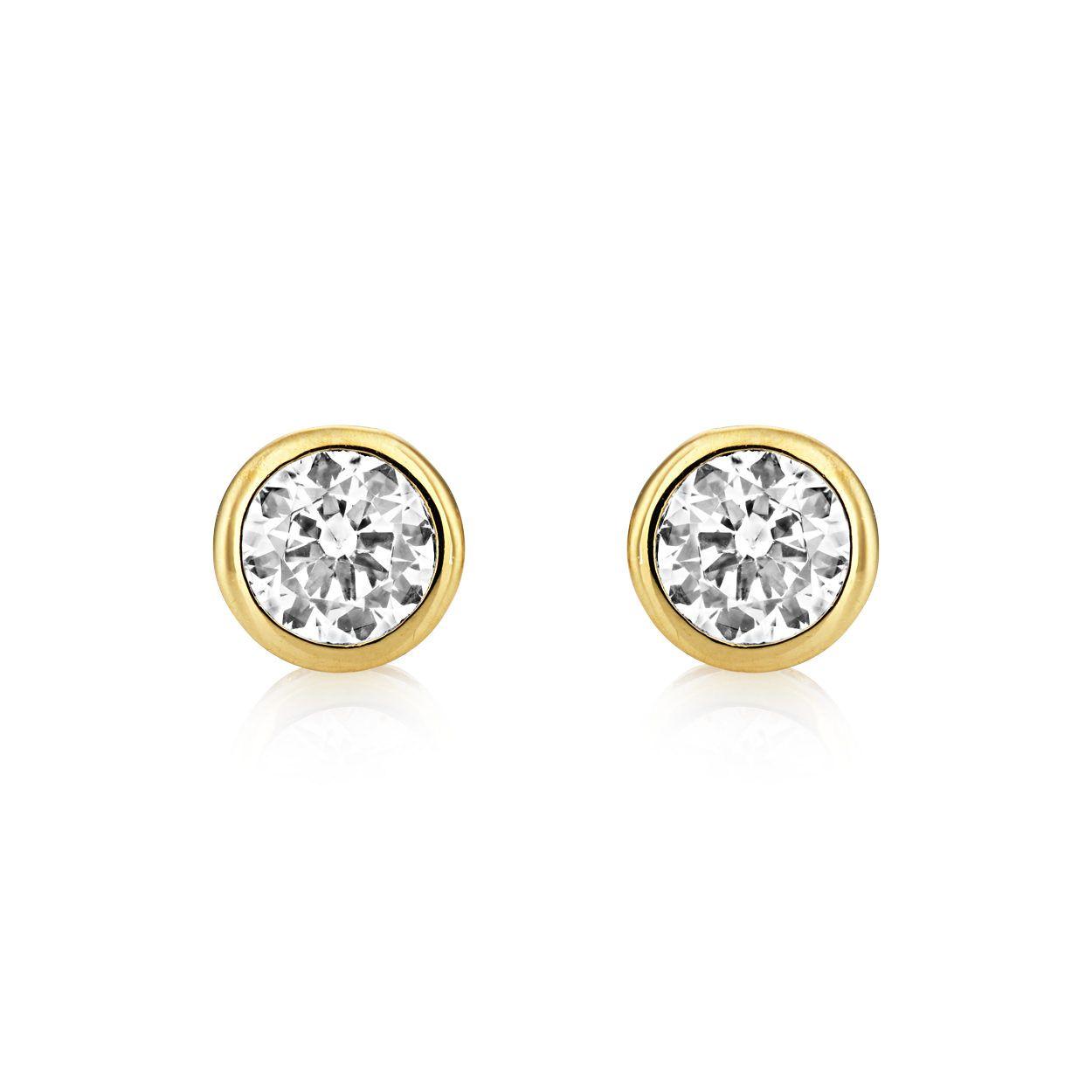 Buckley London Central Brilliant Stud Earrings - Gold