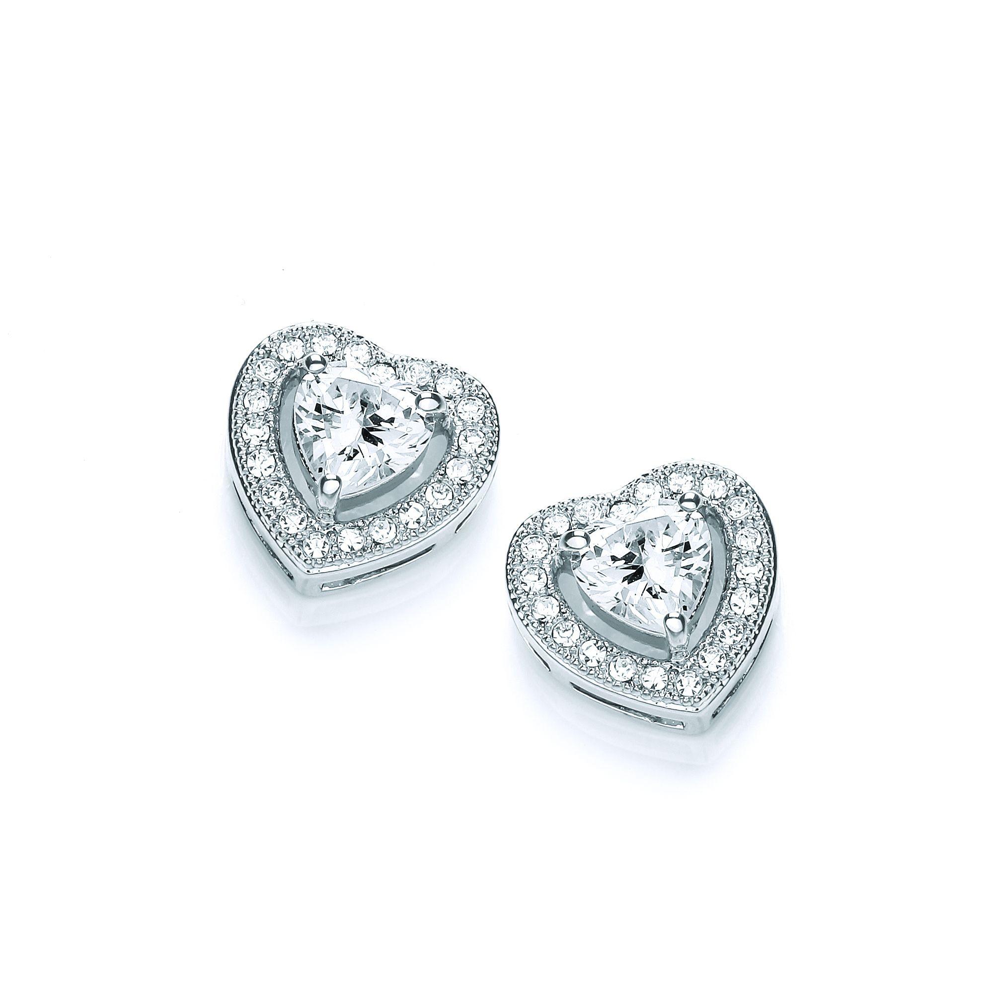 Buckley London Crystal Heart Stud Earrings
