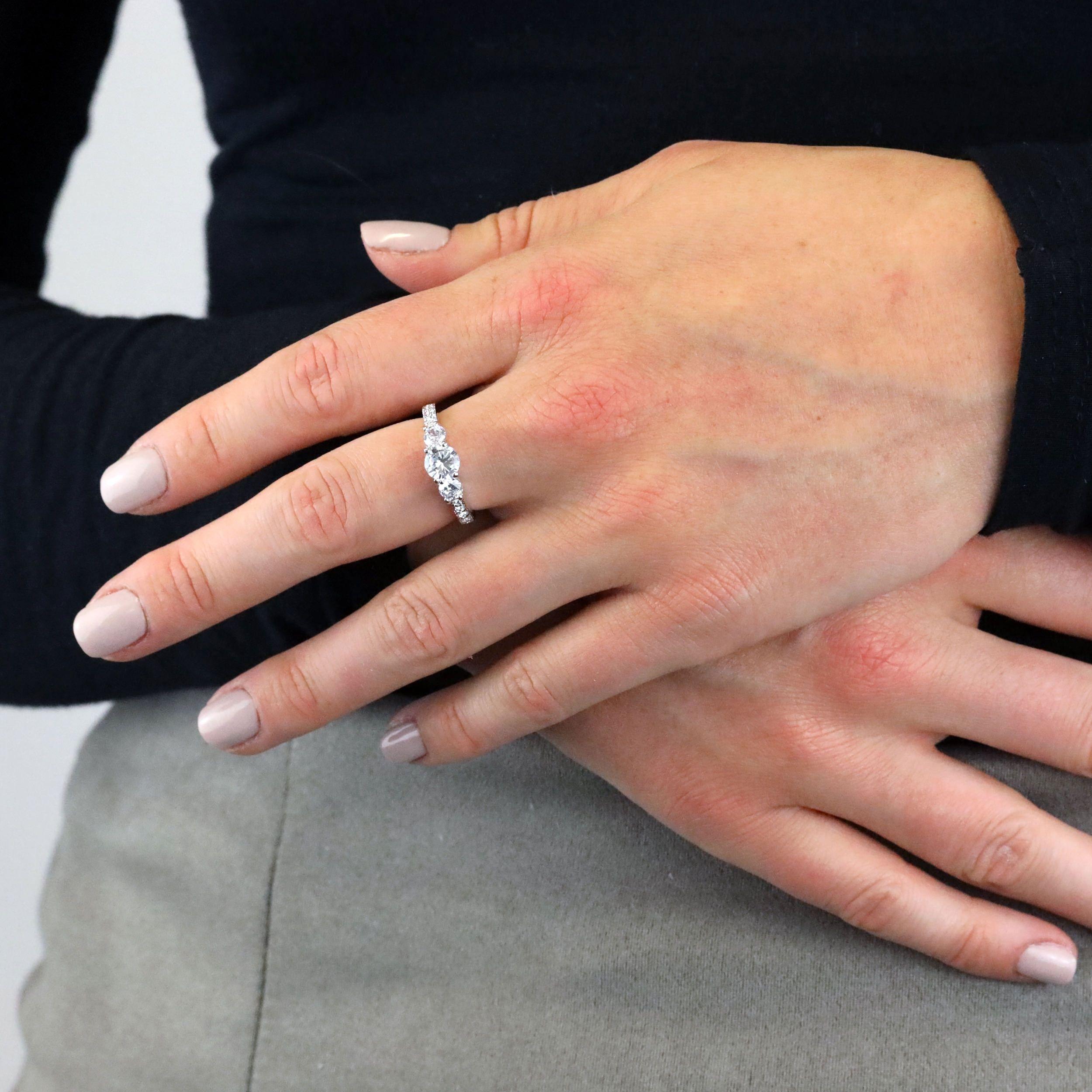 Buckley London Rhodium Plated Brilliant-Cut Trilogy Ring