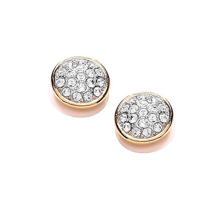 Buckley London 18k Two Tone Gold Crystal Stud Earrings