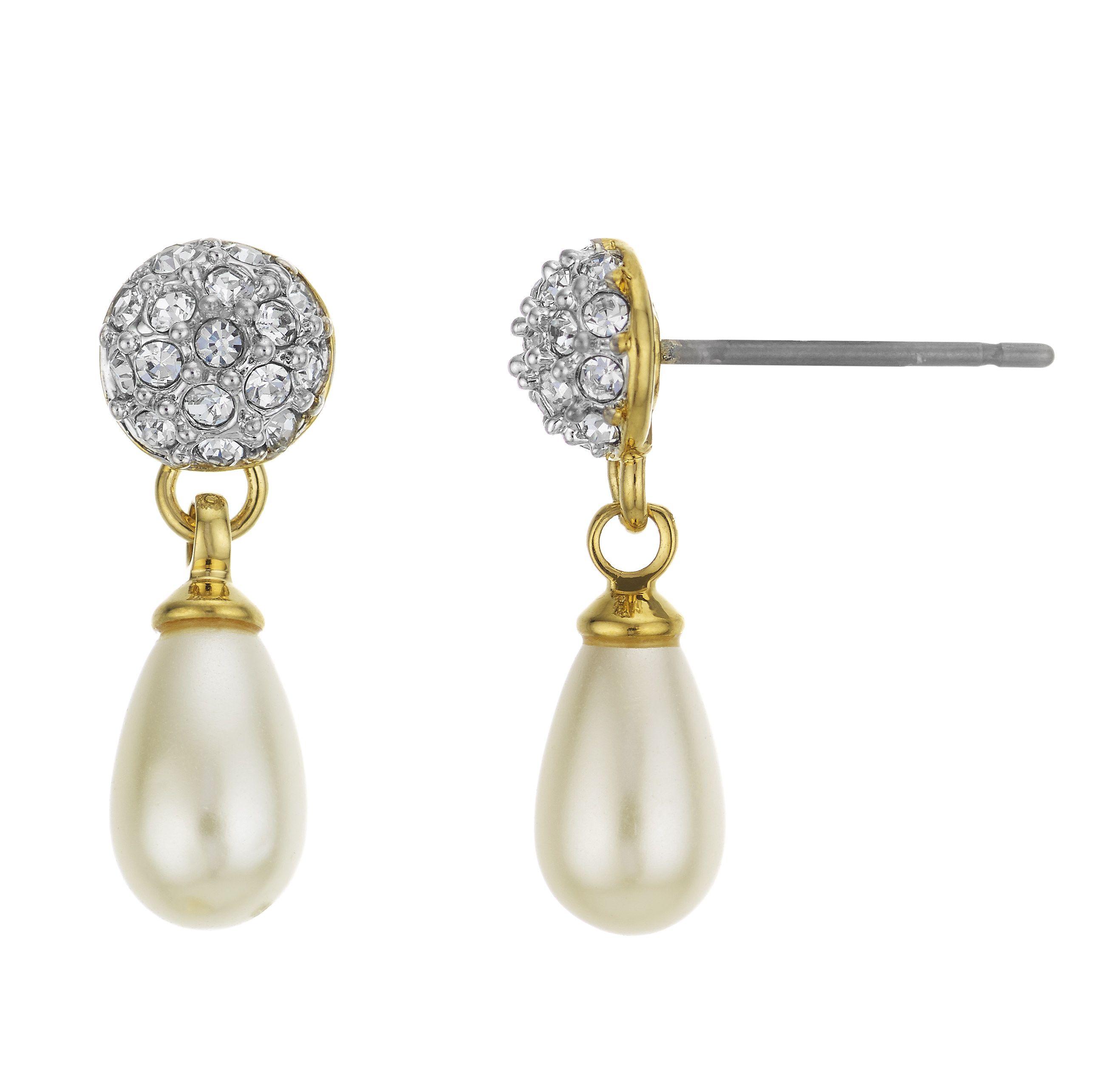 Buckley Pearl Crystal Drop Earrings