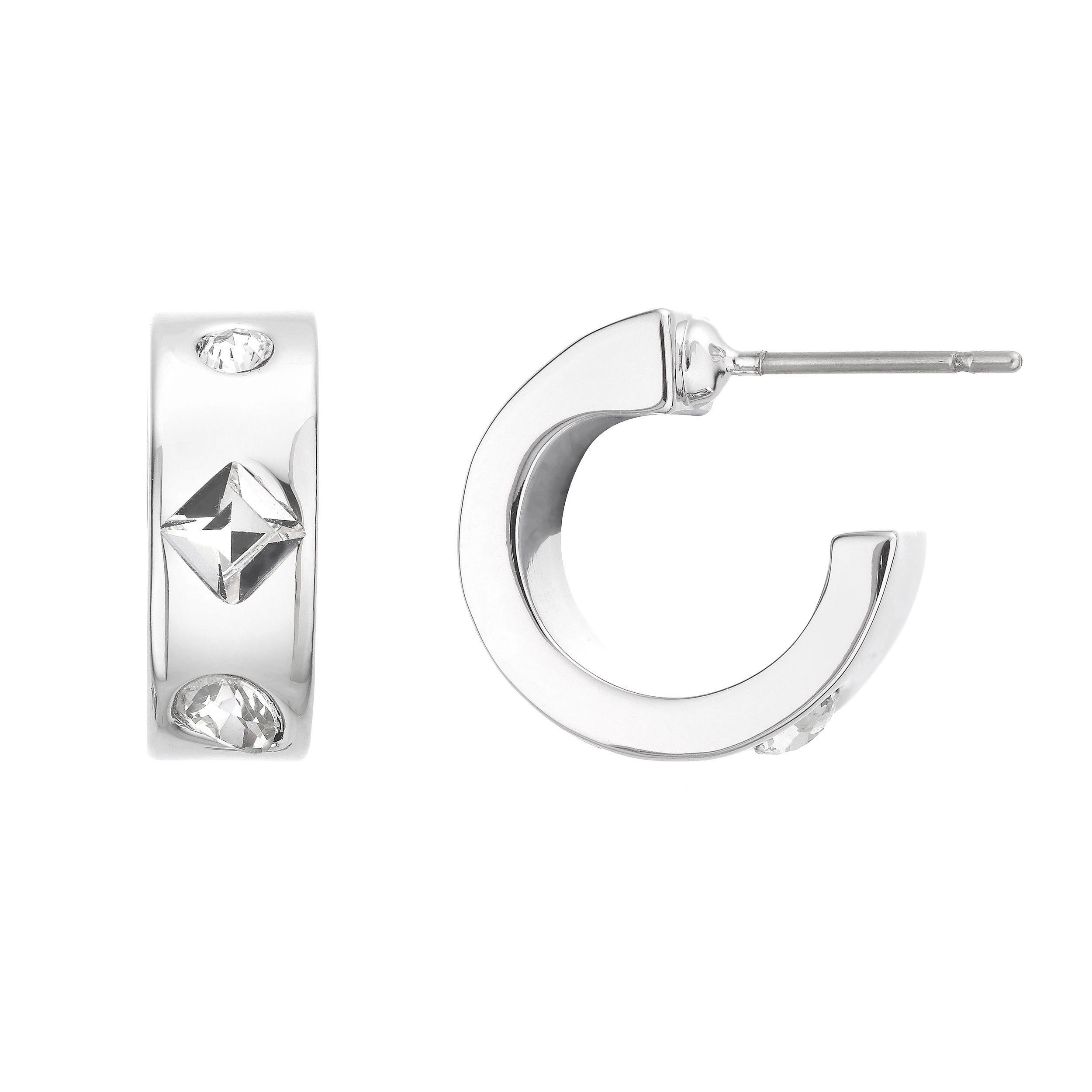 Buckley London Knightley Half Hoop Earrings - Silver