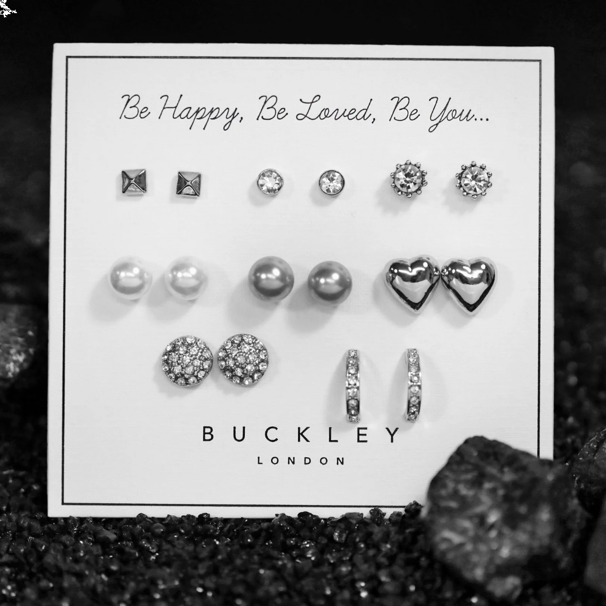 Buckley London Eight Piece Rhodium Earring Set