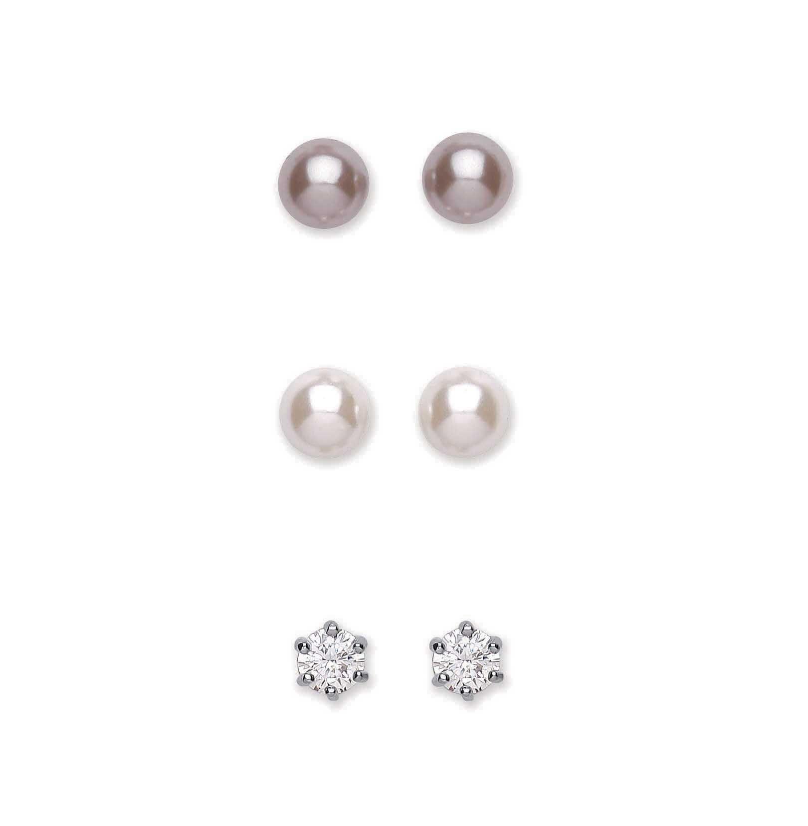 Rhodium Plated Clear Crystal / Pearl Trio Stud Earring Set