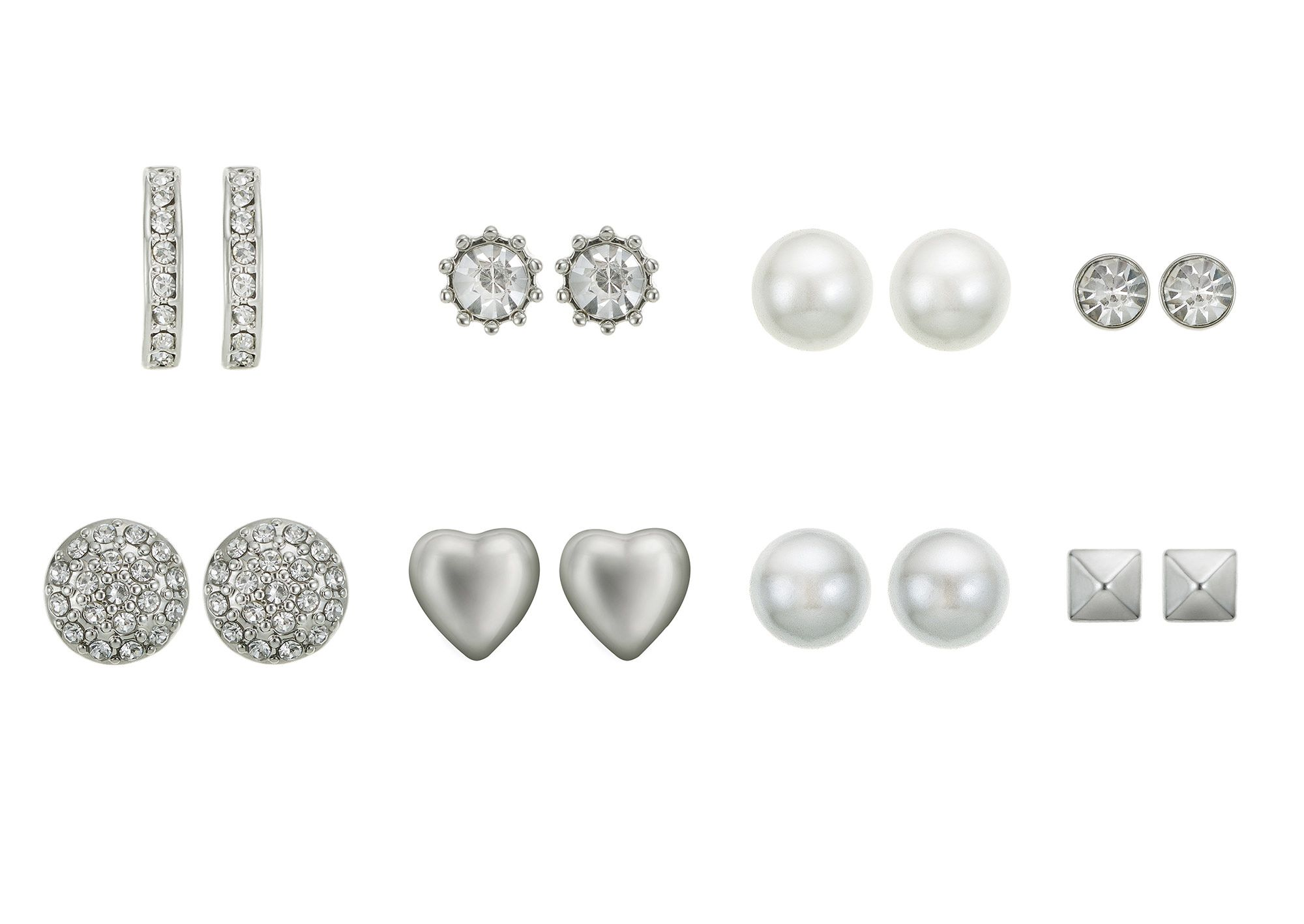 Eight Piece Rhodium Earring Set