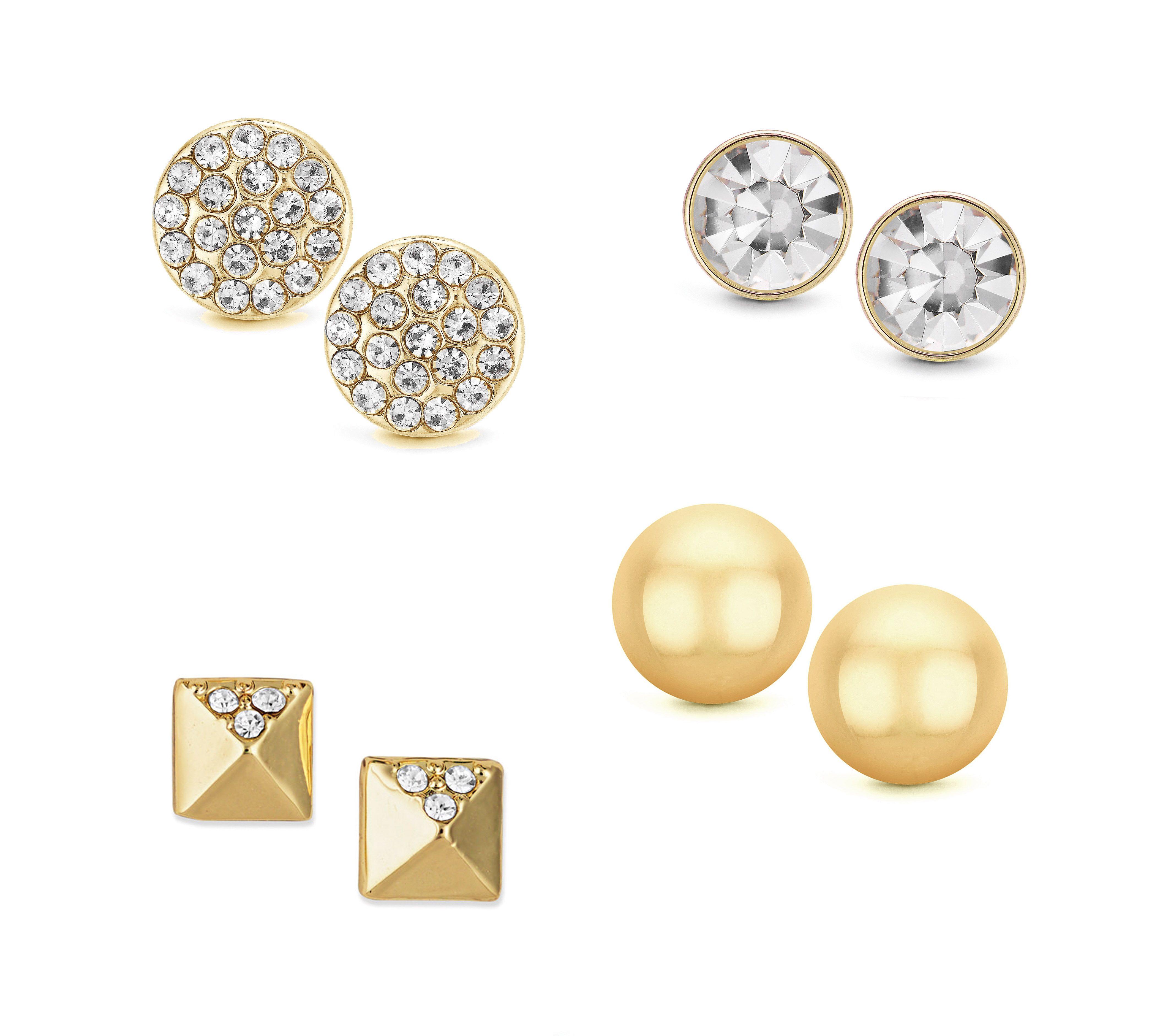 Buckley London Four Piece Gold Stud Earrings Set