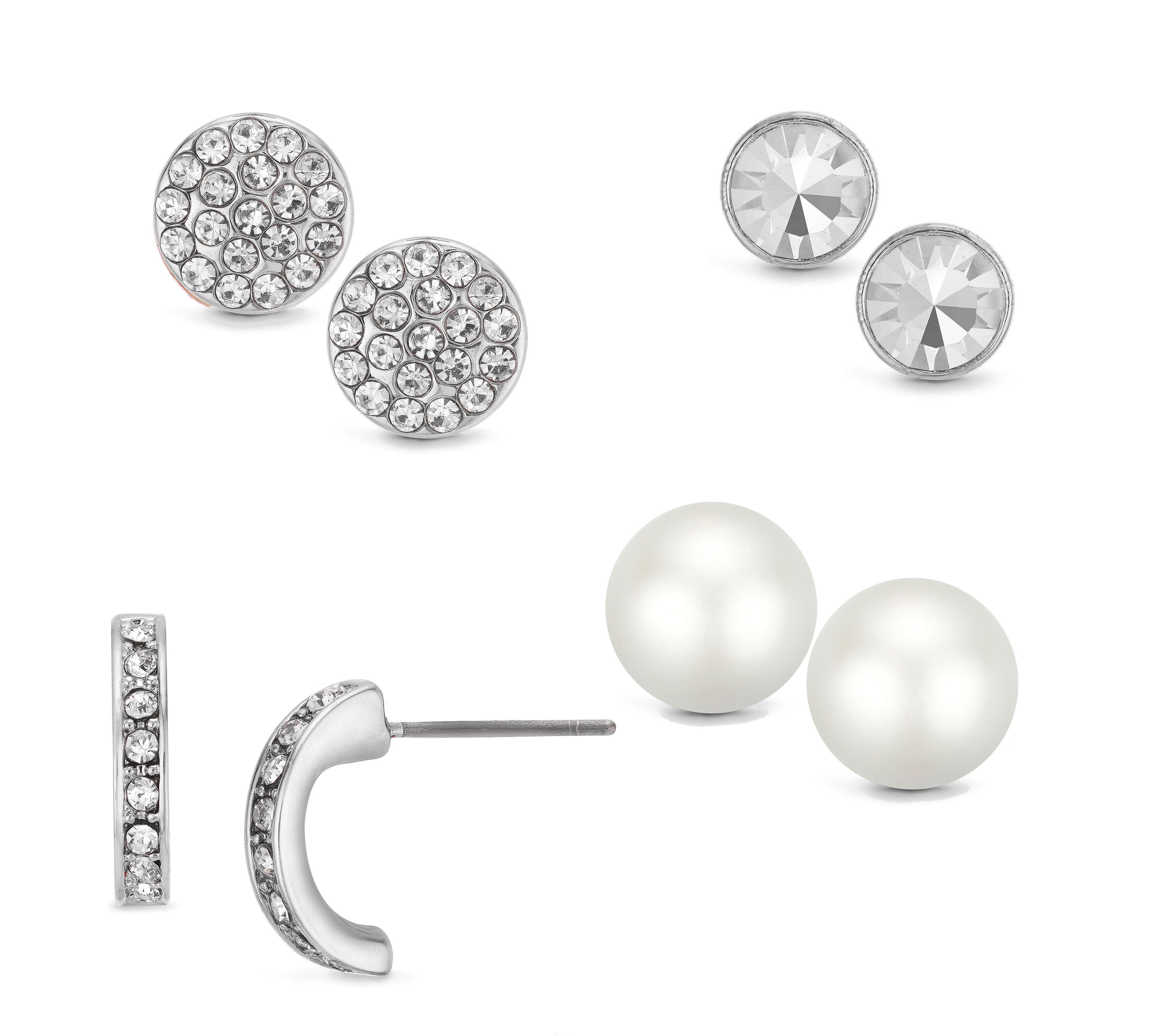Buckley London Four Piece Silver Earrings Set