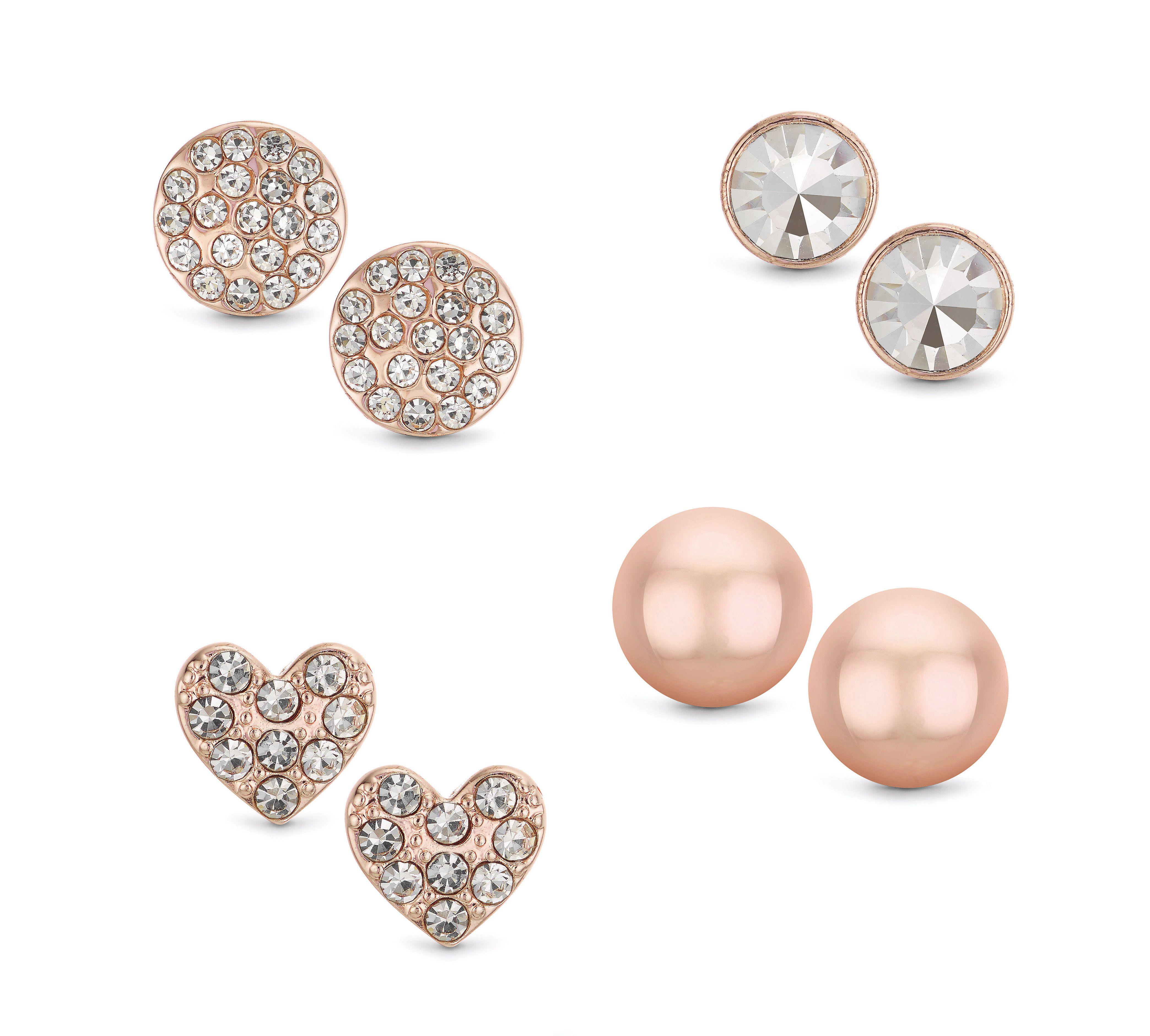 Buckley London Four Piece Rose Gold Stud Earrings Set