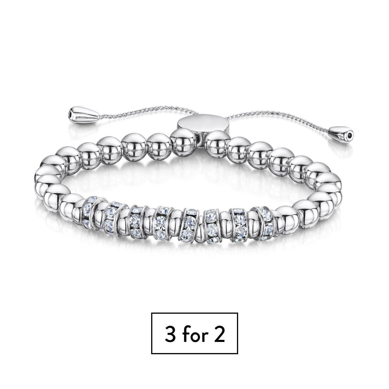 Buckley London Simplicity Bracelet - Rhodium (Cluster Design)