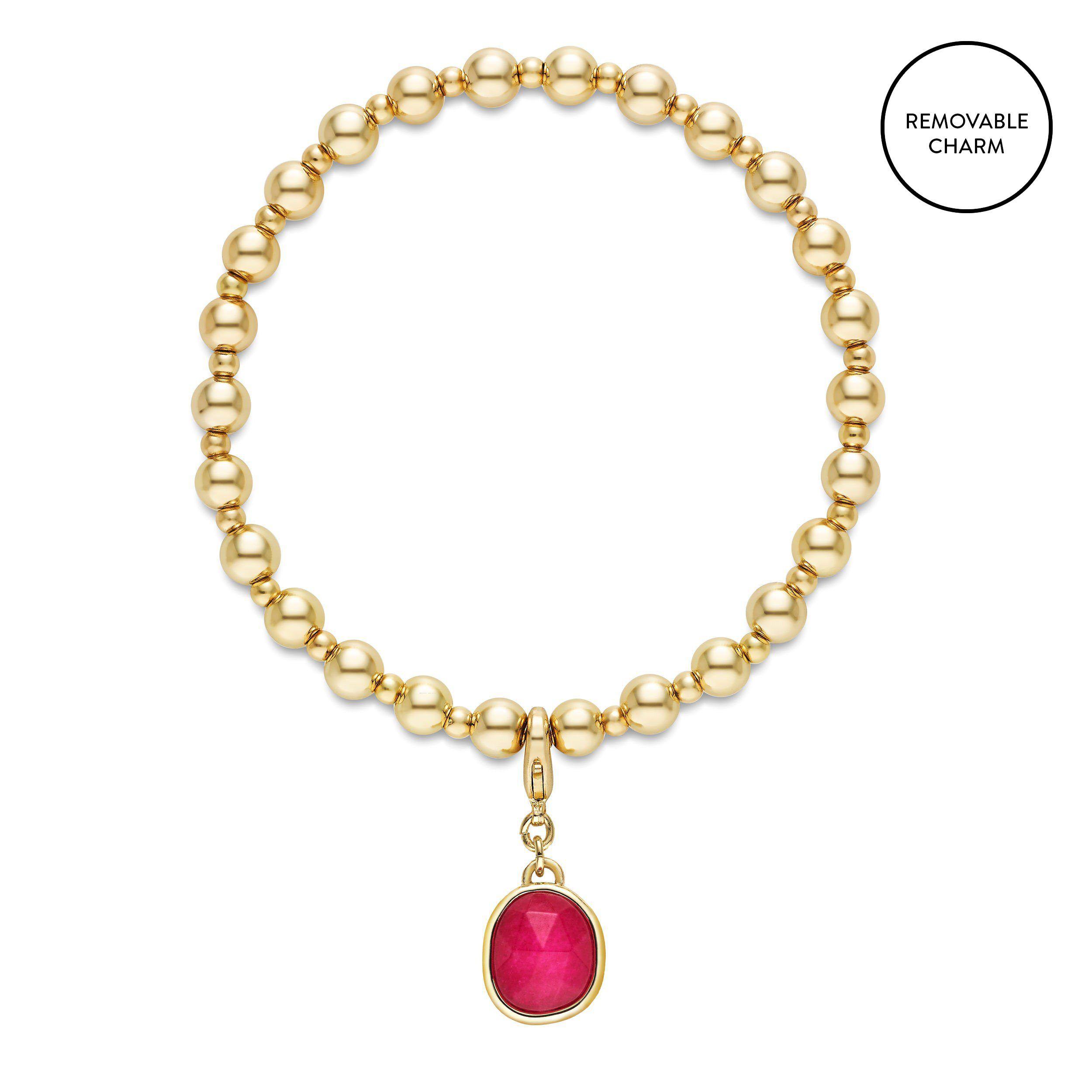 Fuschia Semi-Precious Charm Beaded Bracelet