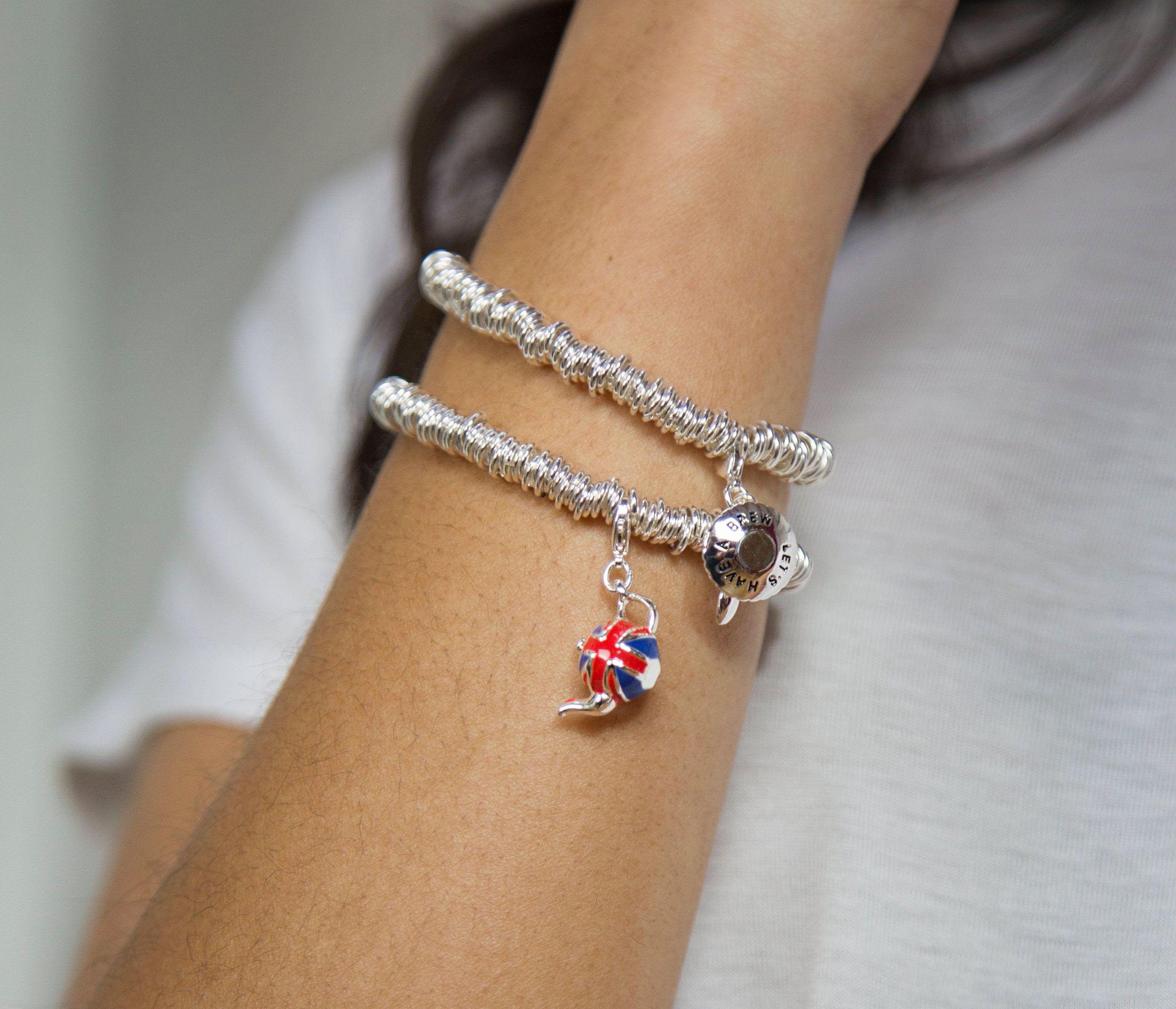 Buckley London Union Jack Teapot Charm Bracelet