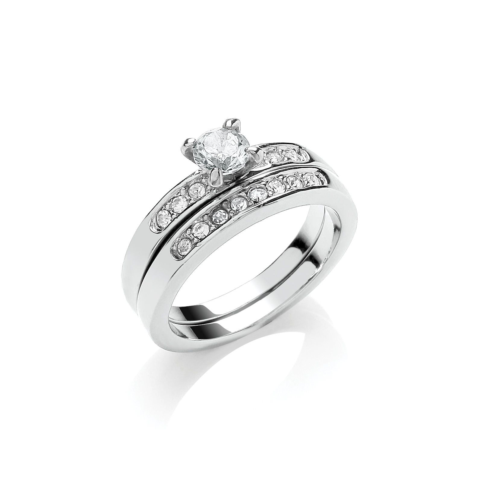 Buckley London Rhodium Plated Solitaire Wedding Band Duo