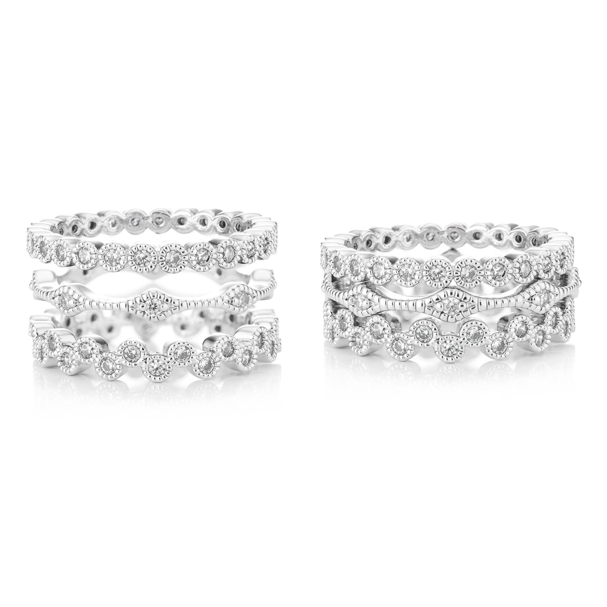 Buckley London Crystal Triple Stacker Rings