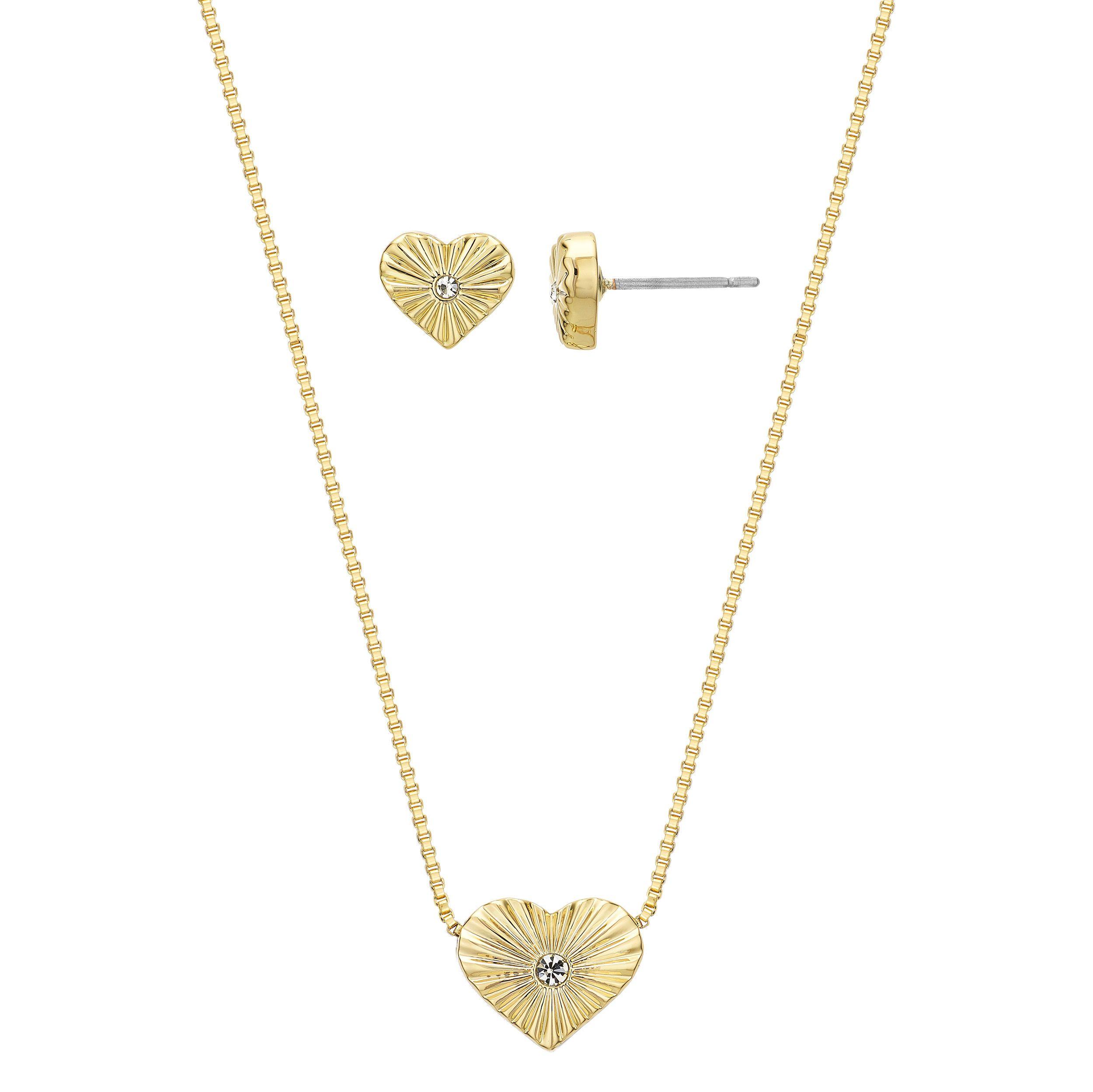 Buckley London Heart of Gold Pendant & Earring Set
