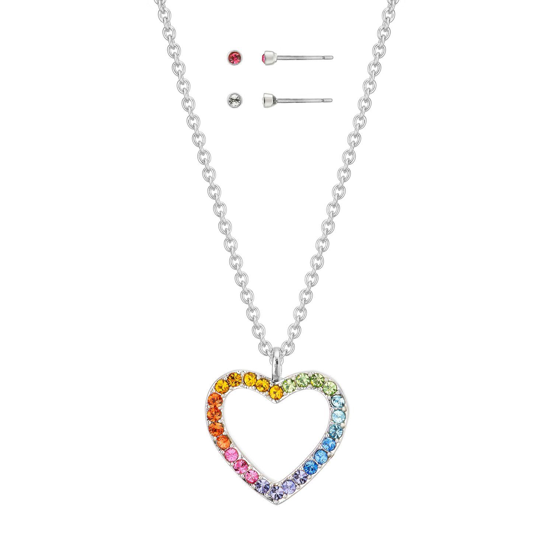 Buckley London Rainbow Heart Pendant & Earring Set