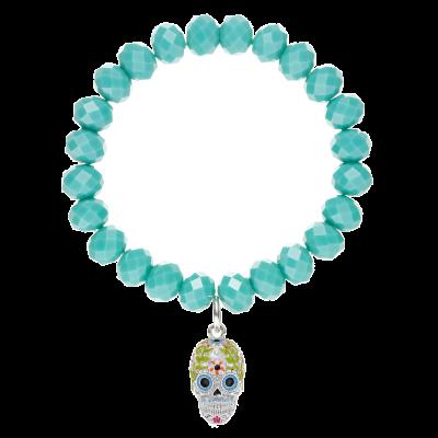 Sugar Skull Glass Bead Bracelet