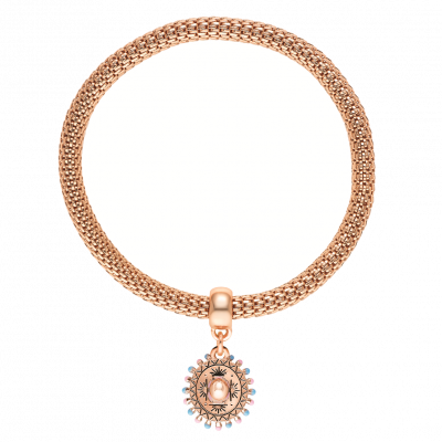 Sombrero Rose Gold Mesh Stretch Charm Bracelet