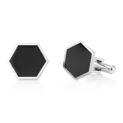 Buckley London Men's Axel Hexagonal Enamel Cufflinks