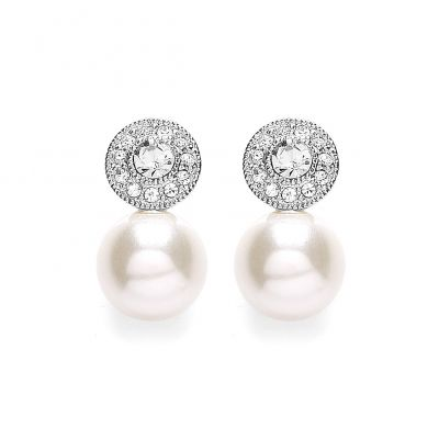 Buckley London Rhodium Plated Pearl Flower Drops