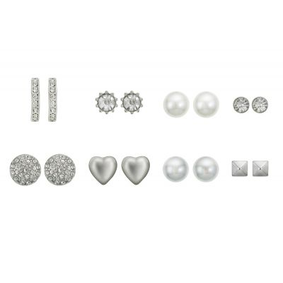 Eight Piece Rhodium Earring Set