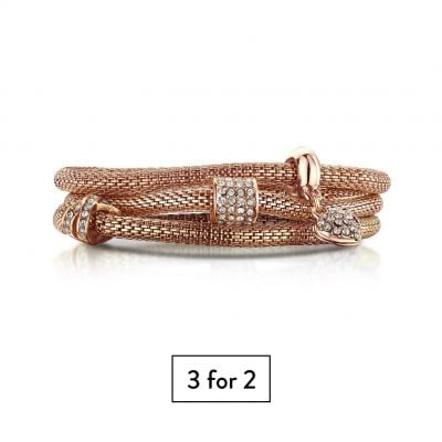 Buckley London XO♥ Mesh Bracelets - Rose Gold