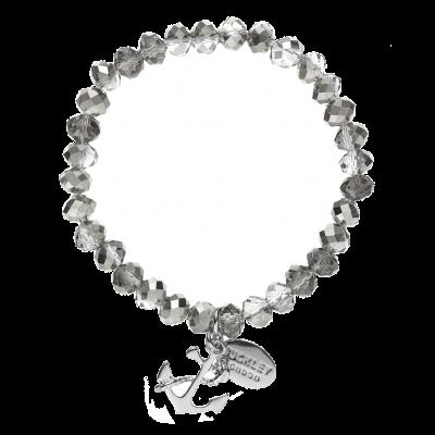 Anchor Clear Bead Charm Bracelet