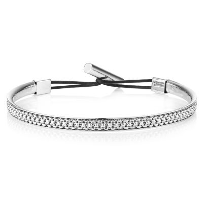 Buckley London For Him Harley Textured Bangle - Rhodium