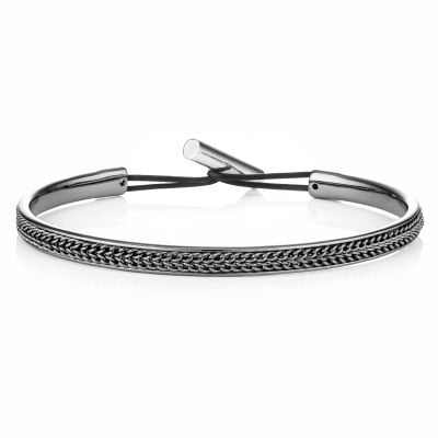 Buckley London Harley Textured Bangle - Hematite
