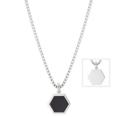 Buckley London For Him Axel Hexagonal Enamel Pendant