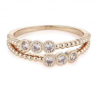 Buckley London Rose Gold Beaded Ring
