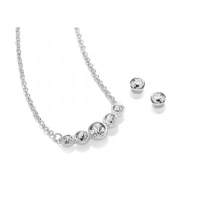 Rhodium Plated Pendant & Earring Crystal Set